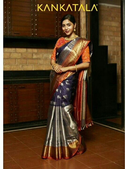 Big zari border Kankatala pattu saree | South indian wedding saree trends featured by top US and Indian fashion blog, Dreaming Loud: image of a Big border Kanjeevaram Saree