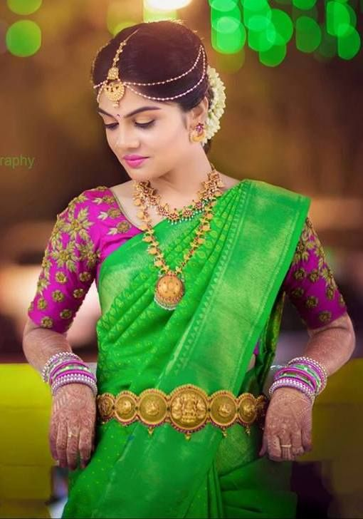 Green Wedding pattu saree | South Indian wedding saree trends featured by top US and Indian fashion blog, Dreaming Loud: image of a green saree