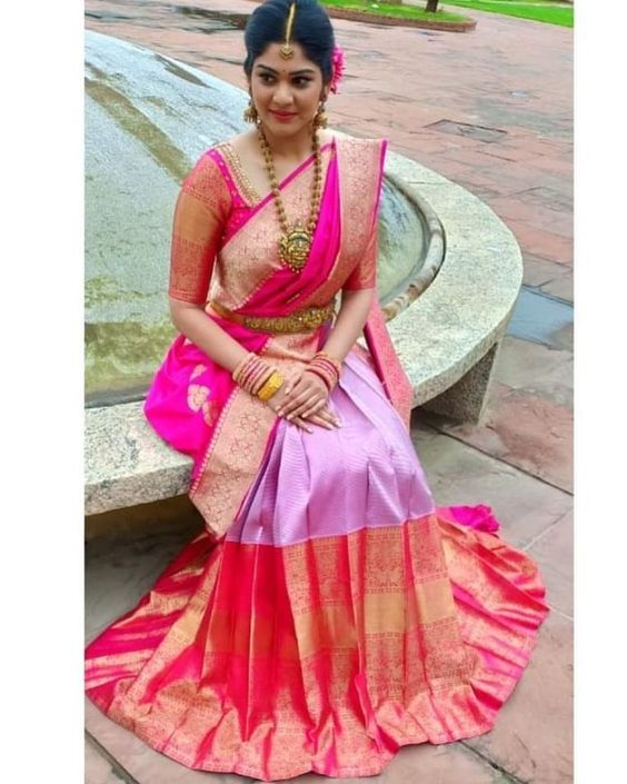 Heavy Border Kanjeevaram Saree | South indian wedding saree trends featured by top US and Indian fashion blog, Dreaming Loud: image of a Big border Kanjeevaram Saree