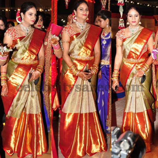 revanth-reddy-wife-at her-daughter wedding | | South indian wedding saree trends featured by top US and Indian fashion blog, Dreaming Loud: image of a Big border Kanjeevaram Saree