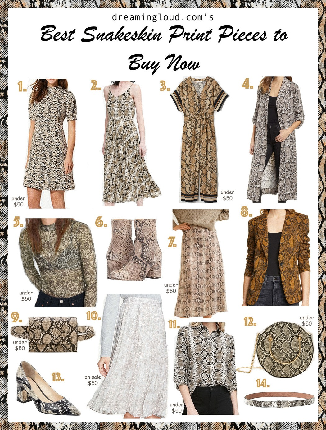 Snakeskin Print Pieces featured by top US modest fashion blog, Dreaming Loud