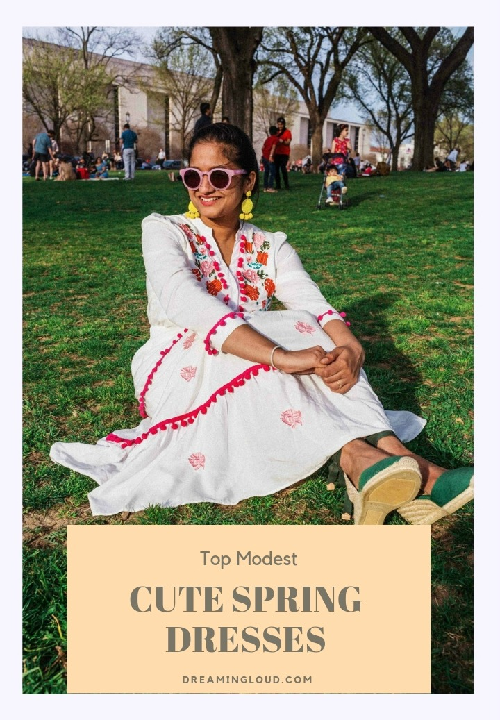 Modest spring dresses featured by top US modest fashion blog, Dreaming Loud: image of a woman wearing a Chicwish floral embroidered dress, Castaner espadrille sandals, BAUBLEBAR statement earrings and Madewell sunglasses