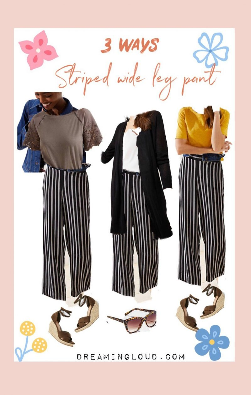 how to wear striped wide leg pants in 3 ways by dreaming loud | Spring LOFT sale favorites featured by top US modest fashion blog, Dreaming Loud