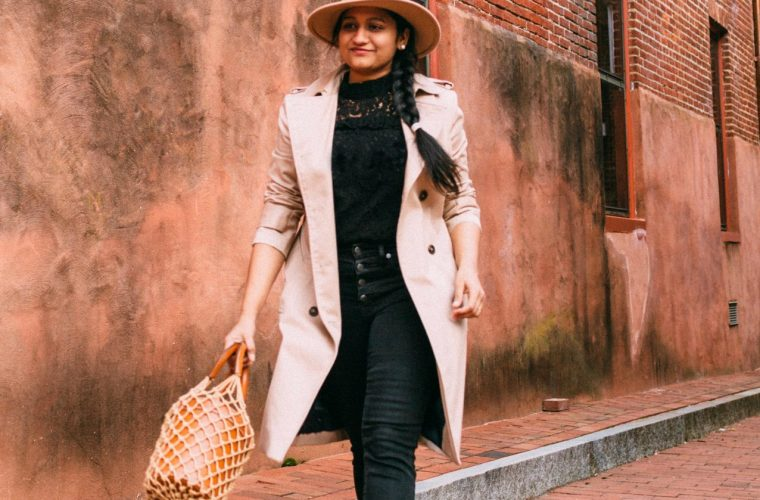 All black outfit for Spring Summer featured by too US modest fashion blog, Dreaming Loud: image of a woman wearing a BB Dakota black lace top, Madewell black skinny jeans, Brooks Brothers trench coat, MANEBI raffia espadrilles, and STAUD bag