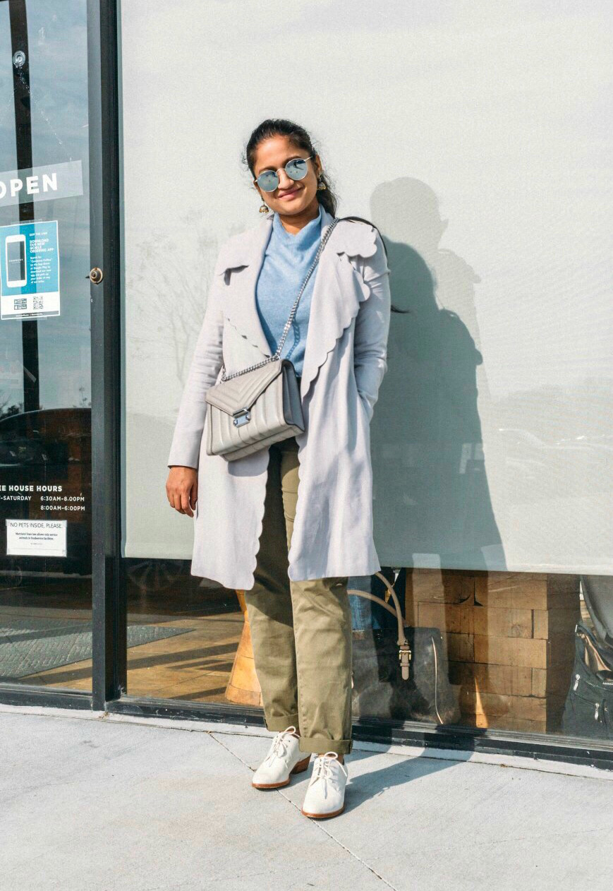 Utility cargo pants styled for Spring featured by top US modest fashion blog, Dreaming Loud: image of a woman wearing Caslon utility cargo pants, Everlane cashmere sweater, Club Monaco trench coat, silver statement earrings, Oxford pumps, Michael Kors bag and Ray Ban round sunglasses.