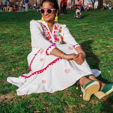 wearing chicwish Stay Romance Embroidered Maxi Dress 1 | Modest spring dresses featured by top US modest fashion blog, Dreaming Loud: image of a woman wearing a Chicwish floral embroidered dress, Castaner espadrille sandals, BAUBLEBAR statement earrings and Madewell sunglasses
