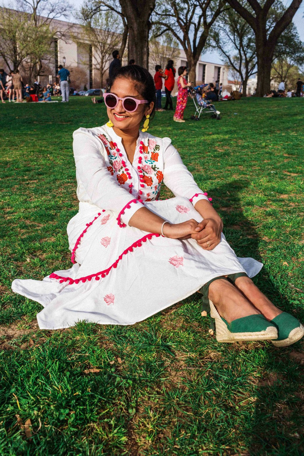 wearing chicwish Stay Romance Embroidered Maxi Dress | Modest spring dresses featured by top US modest fashion blog, Dreaming Loud: image of a woman wearing a Chicwish floral embroidered dress, Castaner espadrille sandals, BAUBLEBAR statement earrings and Madewell sunglasses