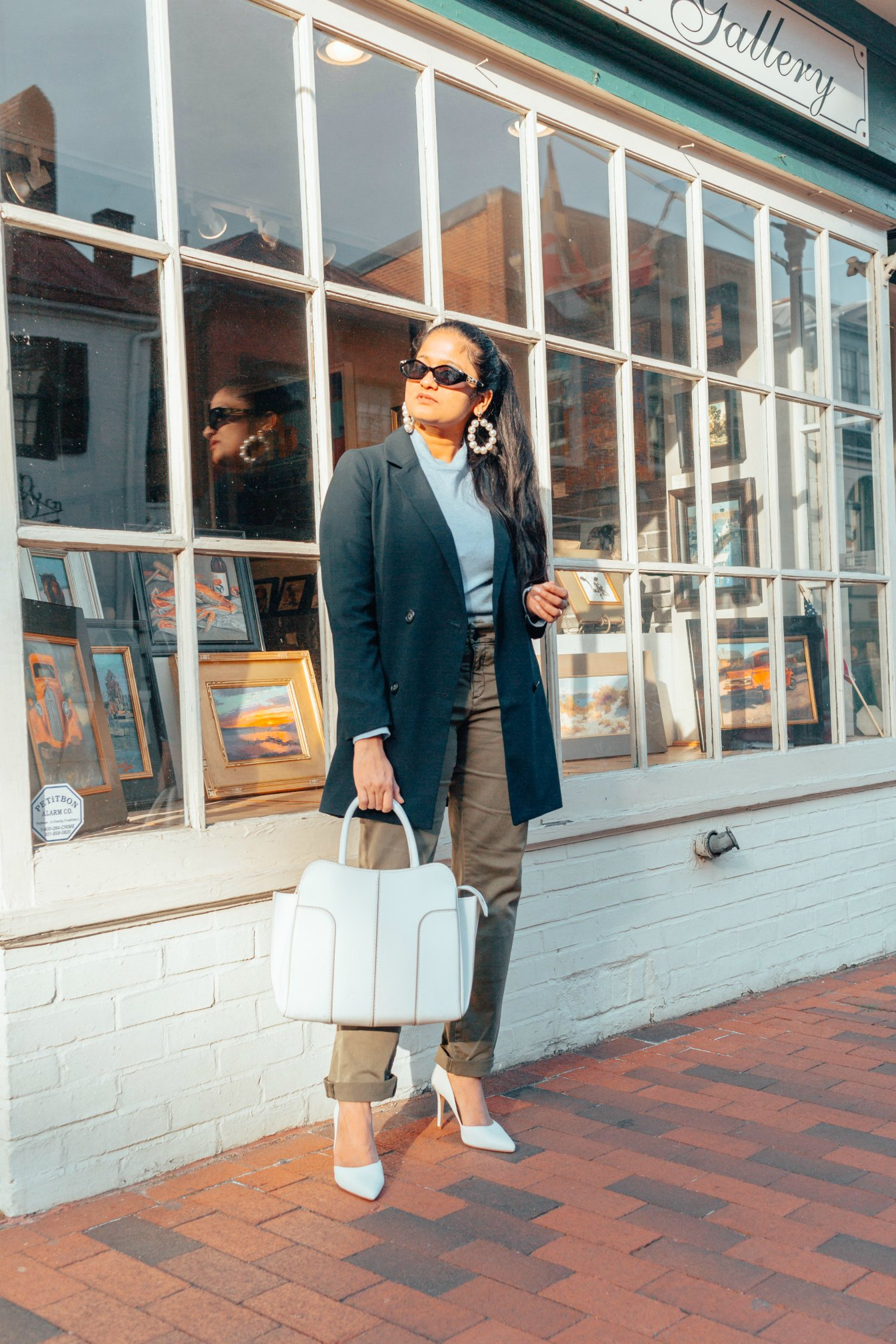 Modest Spring outfits featured by top US fashion blog, Dreaming Loud: image of a woman wearing a Madewell blazer, Everlane sweater, Caslon chino pants, Kenneth Jay Lane pearl drop earrings and Sam Edelman pumps