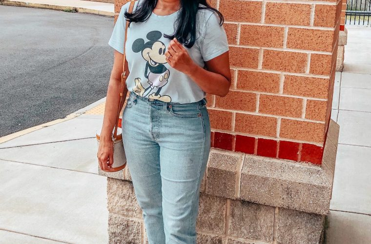 Wearing Levis high Waist Crop Jeans