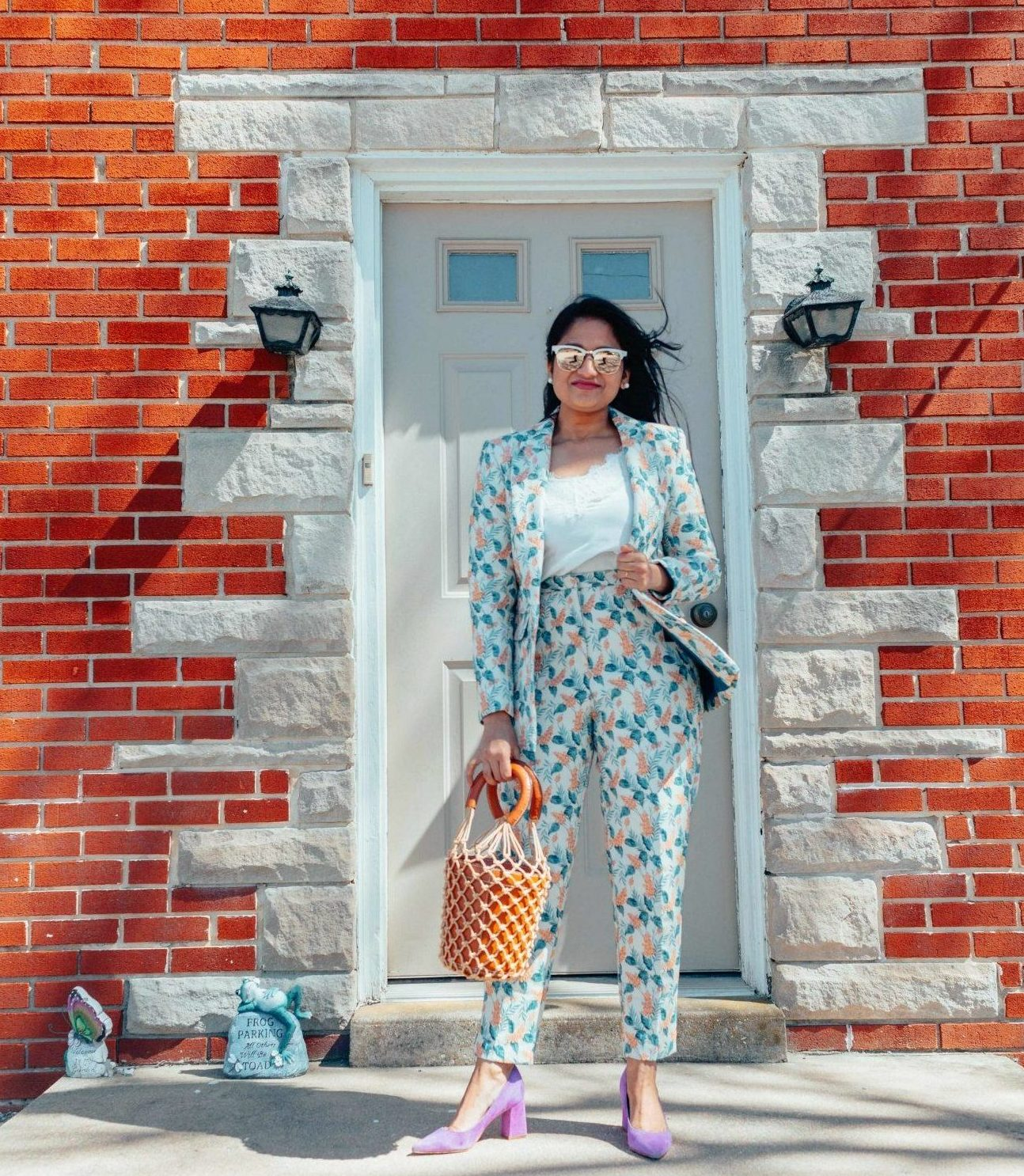 How to wear jacquard wisteria floral blazer two-piece set | Modest Spring outfits featured by top US fashion blog, Dreaming Loud: image of a woman wearing an ASOS floral pant suit, Abercrombie and Fitch lace cami, STAUD bag, Marc Fisher pumps and Ray ban aviator sunglasses | Modest Spring outfits featured by top US fashion blog, Dreaming Loud: image of a woman wearing an ASOS floral pant suit, Abercrombie and Fitch lace cami, STAUD bag, Marc Fisher pumps and Ray ban aviator sunglasses
