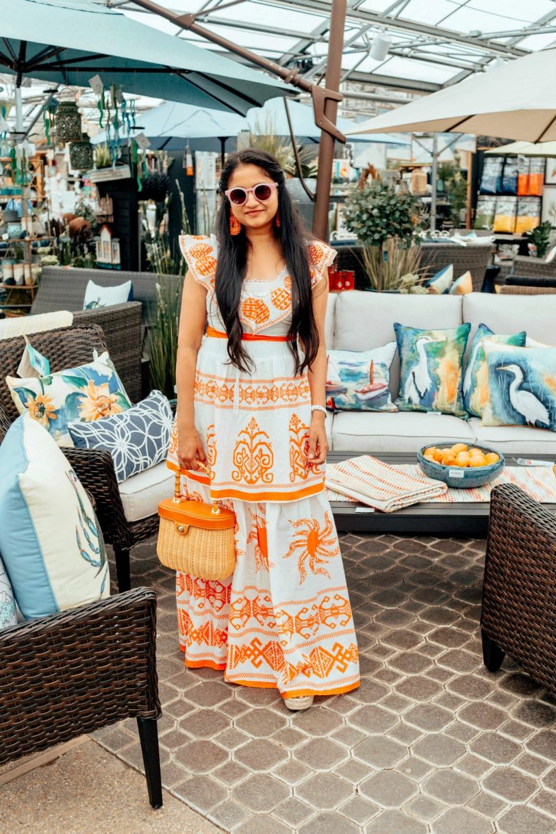 Summer two piece set featured by top US modest fashion blog, Dreaming Loud: image of a woman wearing a Red Dress Boutique two piece set, JMcLaughlin wicker bag, Marc Fisher espadrille wedges, BaubleBar drop earrings, Leonard sunglasses, American Eagle bralette and beaded hair clip