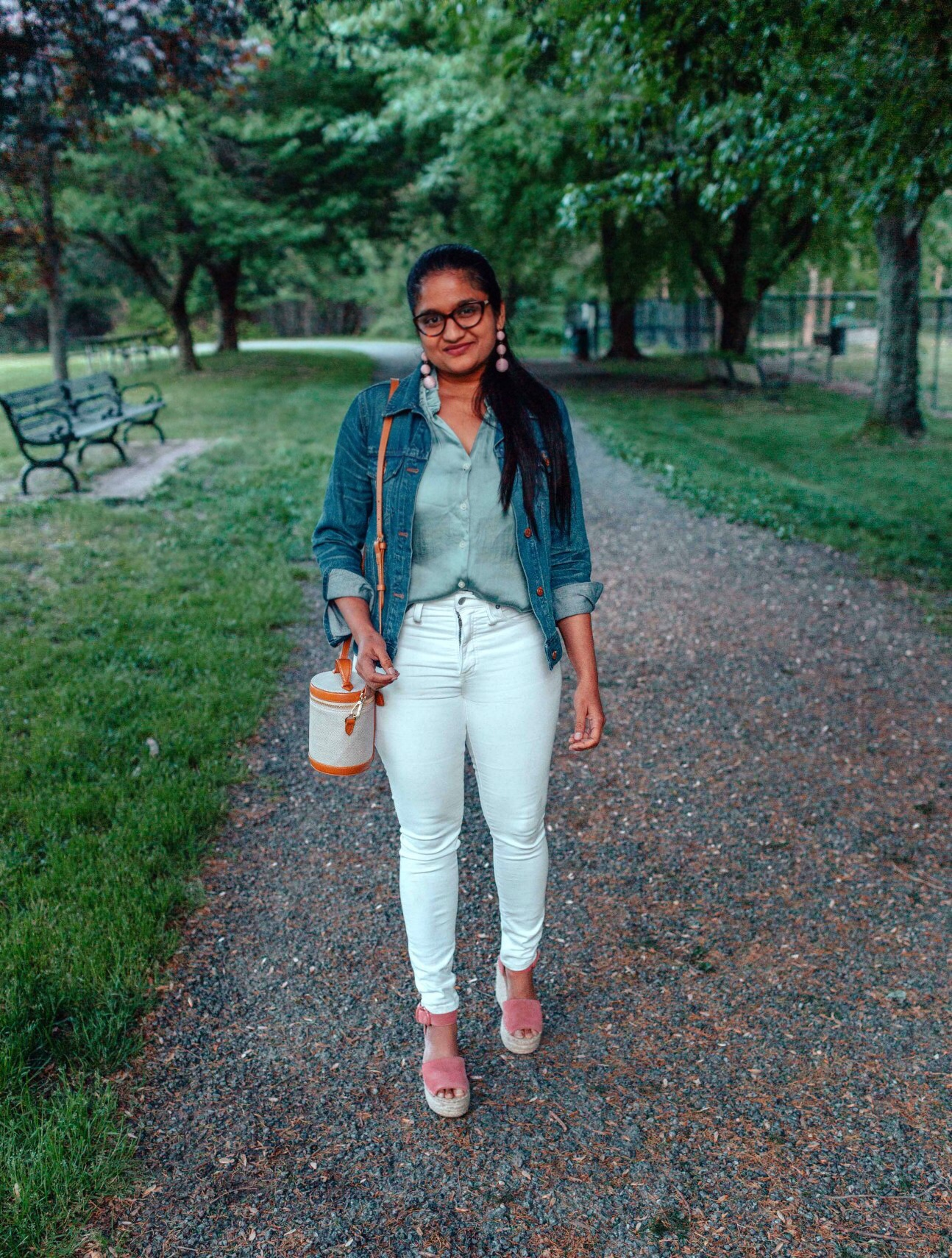 Summer Essentials for Women featured by top US modest fashion blog, Dreaming Loud: image of a woman wearing a Madewell denim jacket1