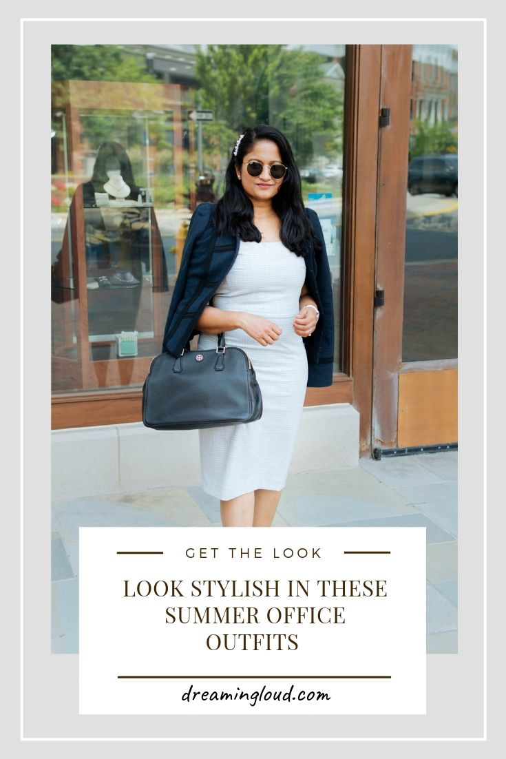 Summer office outfit ideas featured by top US modest fashion blog, Dreaming Loud: image of a woman wearing an Ann Taylor check dress, Ann Taylor polka dot pumps, Ann Taylor white linen cardigan, Tory Burch leather tote, pearls hair clips, and a Daniel Wellington watch