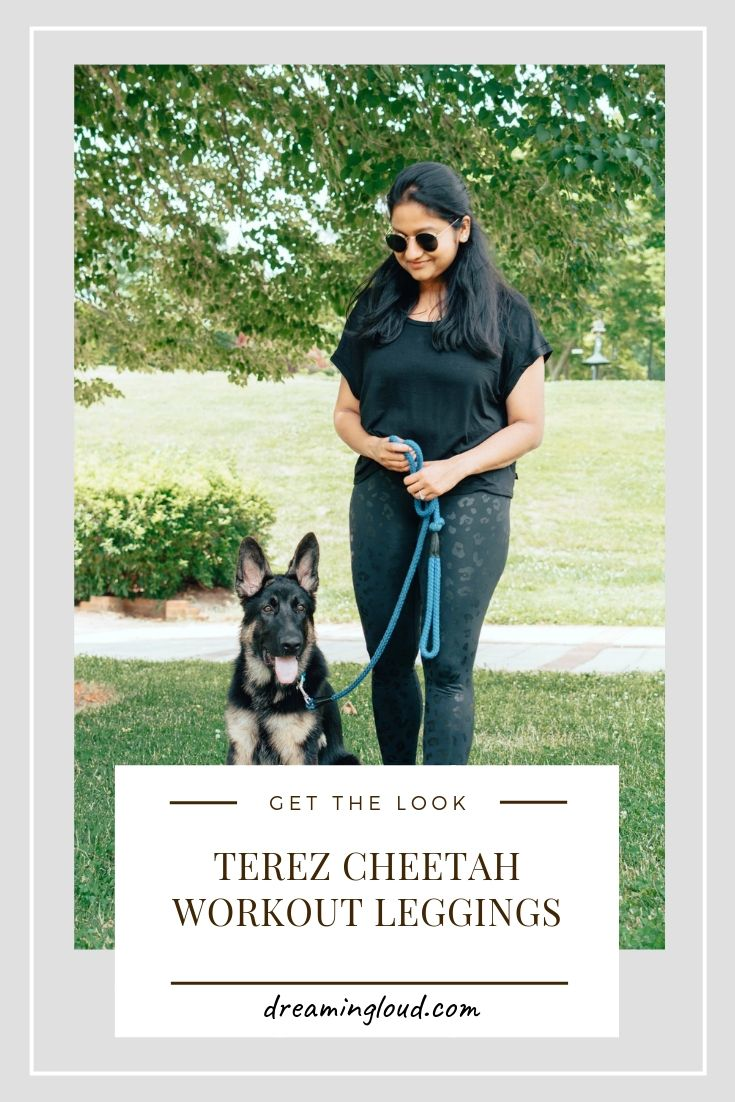 Terez Cheetah Workout Leggings styled by top US modest fashion blog, Dreaming Loud: image image of a woman with her pet in the park wearing Terez Cheetah Workout leggings, Terez black workout tee, Nike Free RN sneakers, Ray-Ban round sunglasses