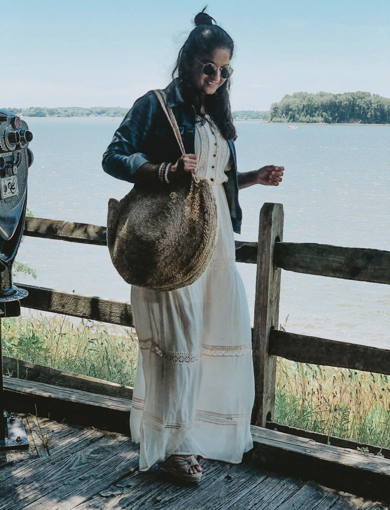 Summer Essentials for Women featured by top US modest fashion blog, Dreaming Loud: image of a woman wearing an Ameriacan Eagle LACE TRIM white MAXI DRESS