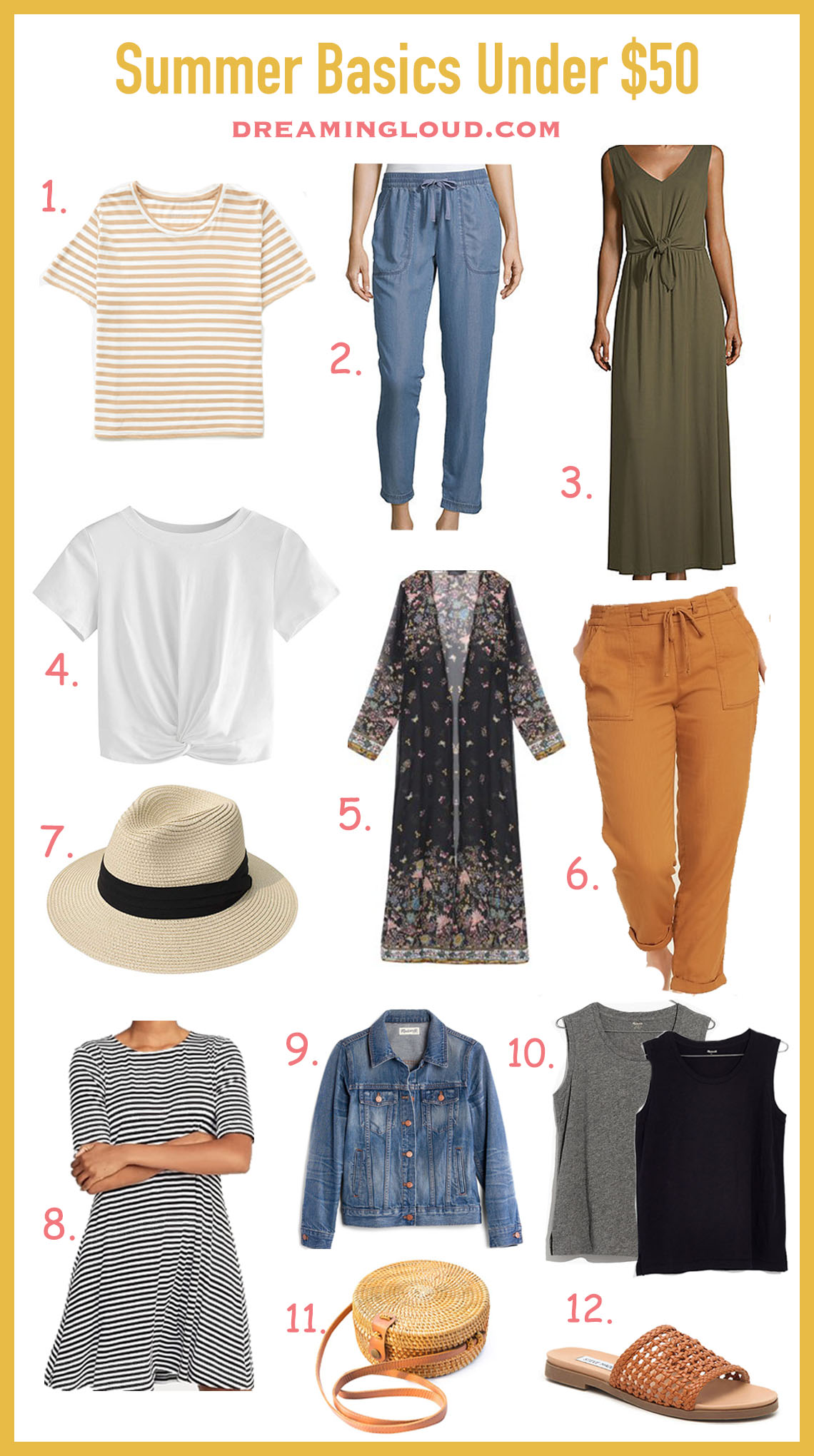 12 Basic Summexr Essentials for your Closet Under $50 featured by top US modest fashion blog, Dreaming Loud
