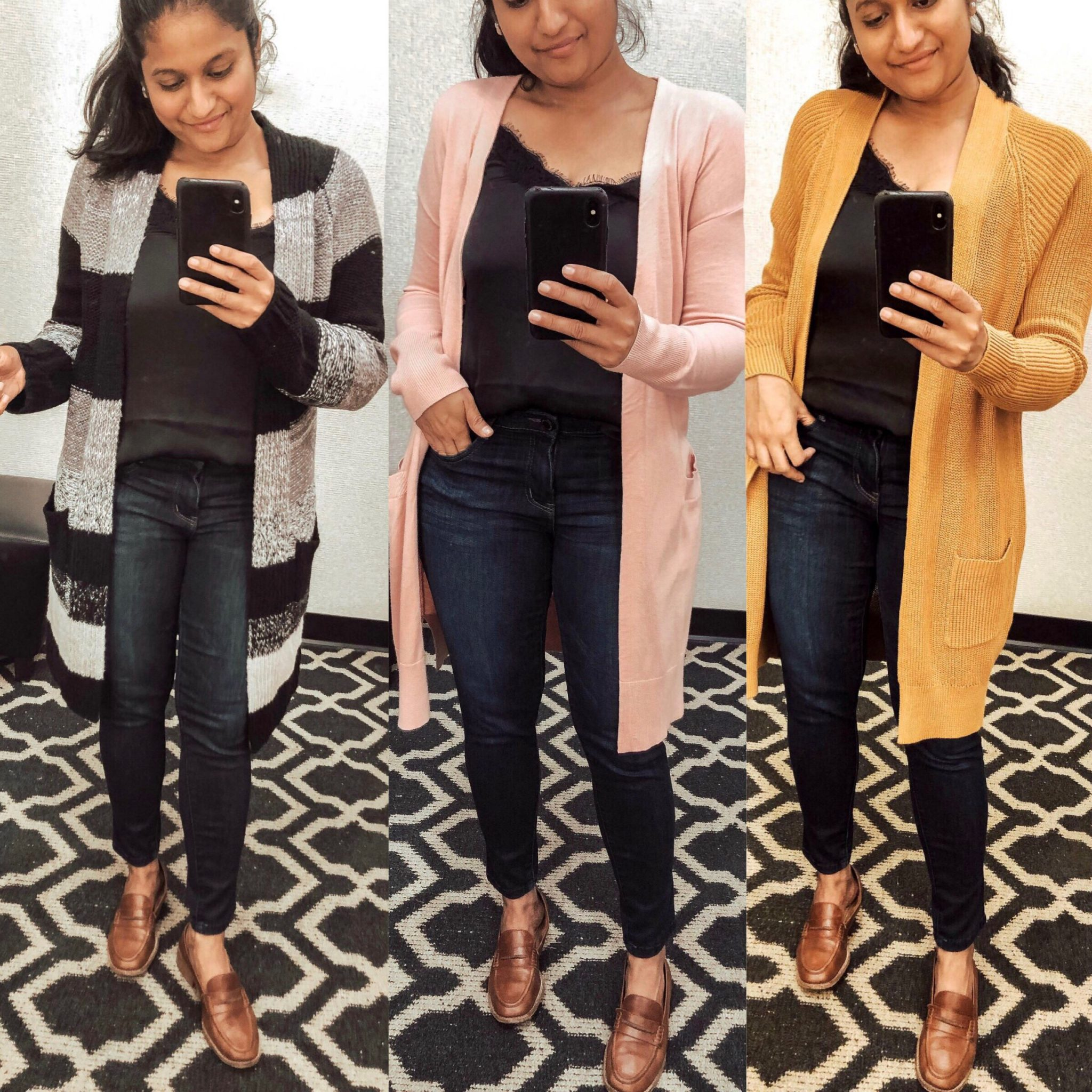 Top 10 Work Wardrobe Essentials from the 2019 Nordstrom Anniversary Sale featured by top US modest fashion blogger, Dreaming Loud: image of a woman wearing a Halogen Long Ribbed Cardigan,BP. Bold Stripe Longline Cardigan,BP. Longline Open Cardigan, wit & wisdom Ab-solution Skinny Jeans