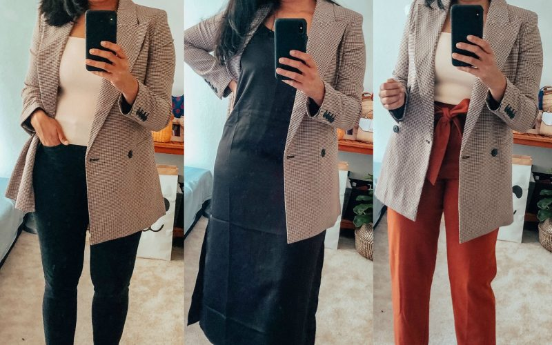 Top 10 Work Wardrobe Essentials from the 2019 Nordstrom Anniversary Sale featured by top US modest fashion blogger, Dreaming Loud: image of a woman wearing a Chelsea28 Double Breasted Plaid Blazer, Wit & Wisdom Ab-solution Skinny Jeans, Blondo Nina Waterproof Suede Boot 2