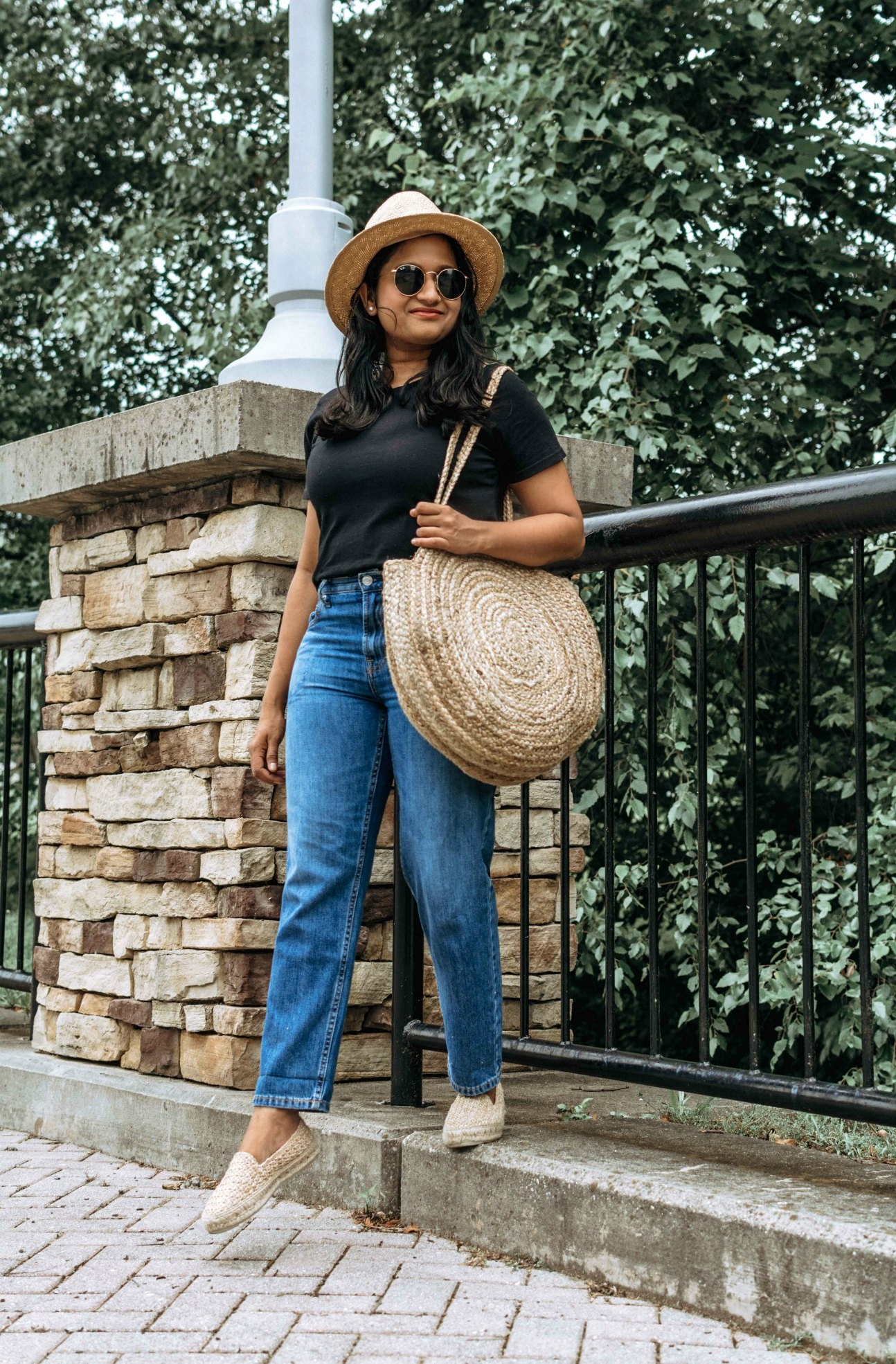 Wearing Everlane summer jeans, Cotton Box-Cut Tee, Manebí Yucatan Raffia Espadrilles, Straw circle bag and straw hat