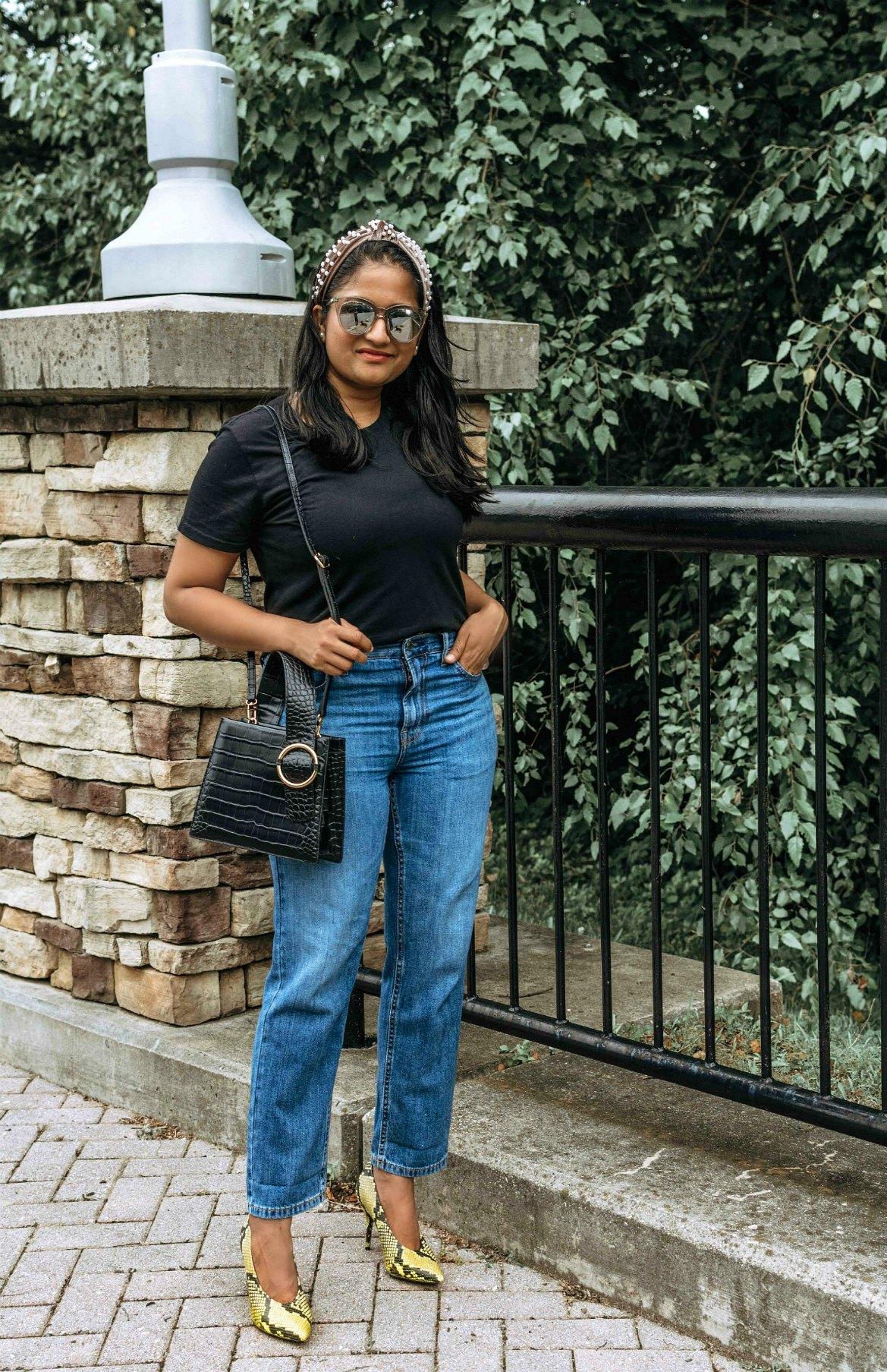 Wearing Everlane summer jeans, Cotton Box-Cut Tee, Pearl headband, Parisa Wang Enchanted Top Handle Bag 1