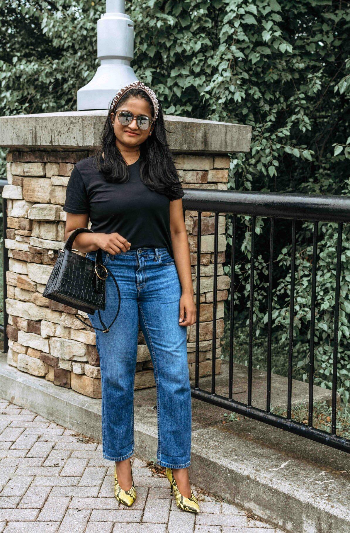 Wearing Everlane summer jeans, Cotton Box-Cut Tee, Pearl headband, Parisa Wang Enchanted Top Handle Bag 2