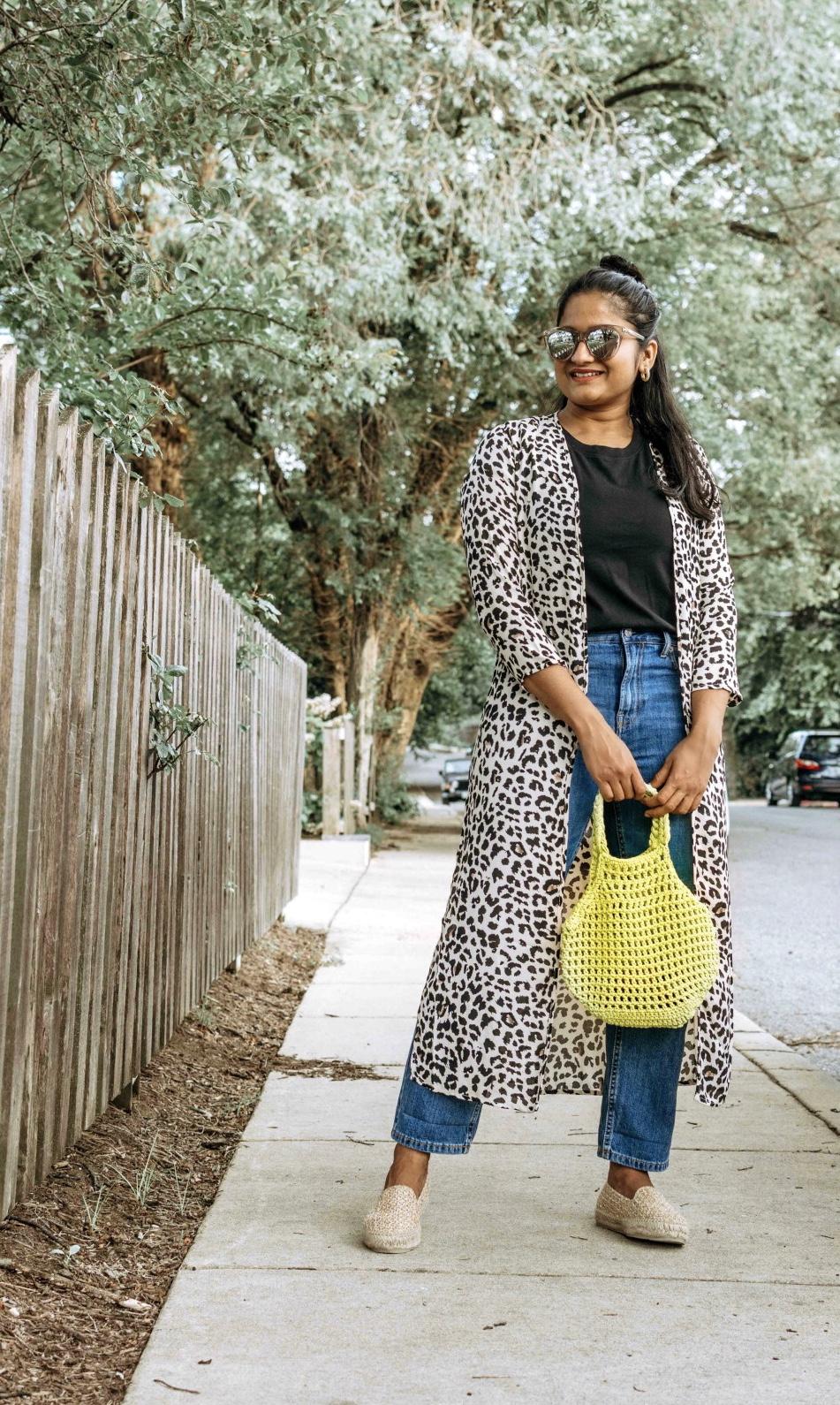 Wearing Everlane summer jeans, Cotton Box-Cut Tee, leopard print kimono, Raffia Espadrilles 5
