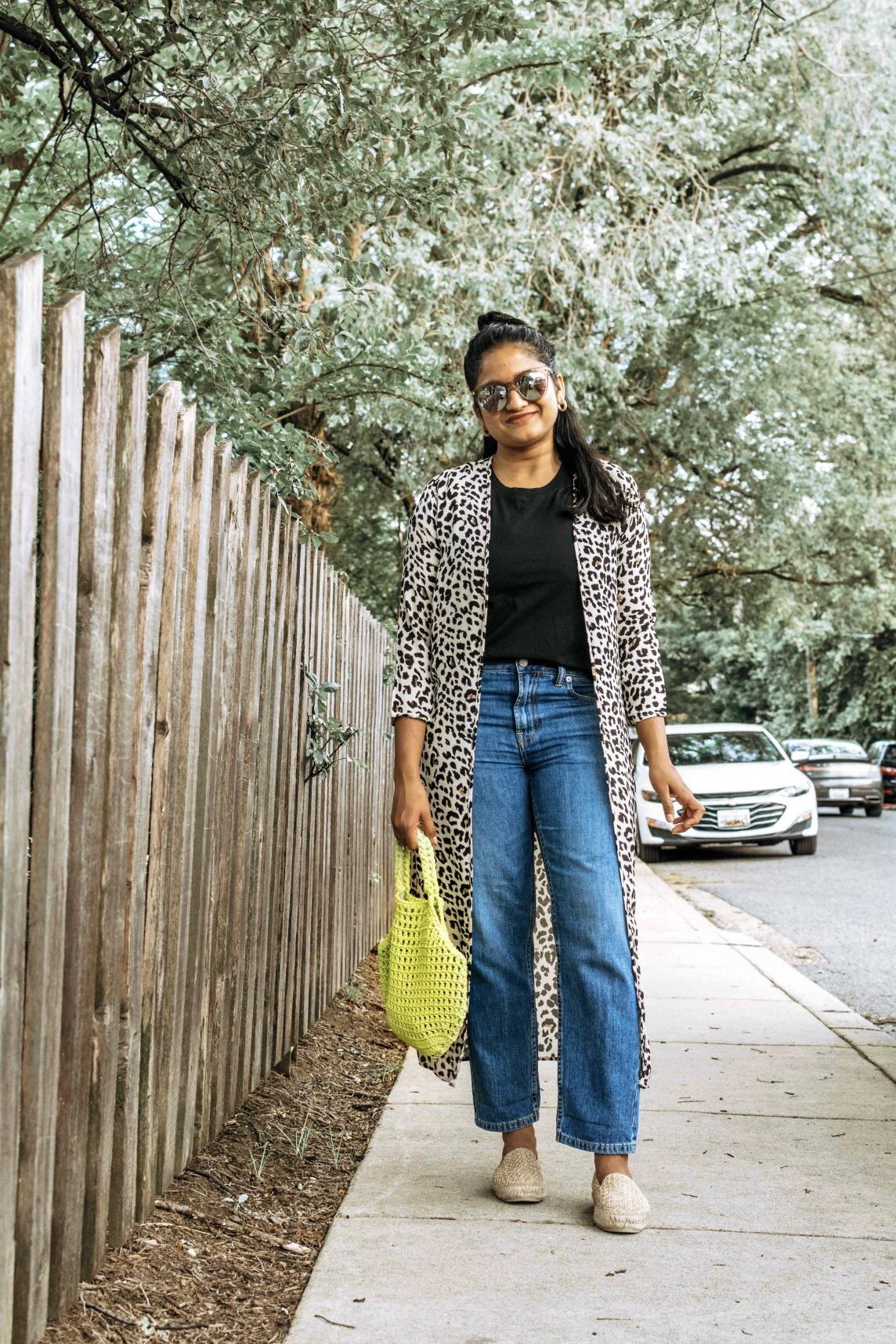 Wearing Everlane summer jeans, Cotton Box-Cut Tee, leopard print kimono, Raffia Espadrilles 6