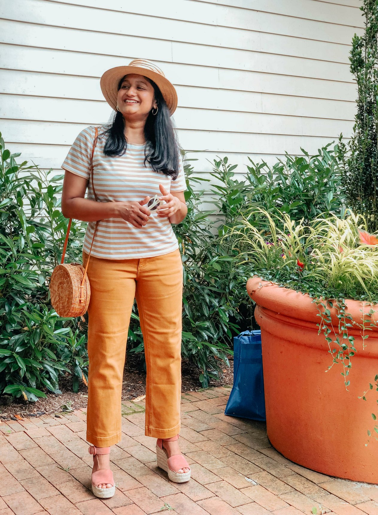 Summer Essentials for Women featured by top US modest fashion blog, Dreaming Loud: image of a woman wearing wearing Everlane striped The Cotton Box-Cut Tee , straight leg crop pant, Marc Fisher LTD Alida Espadrille Platform Wedge
