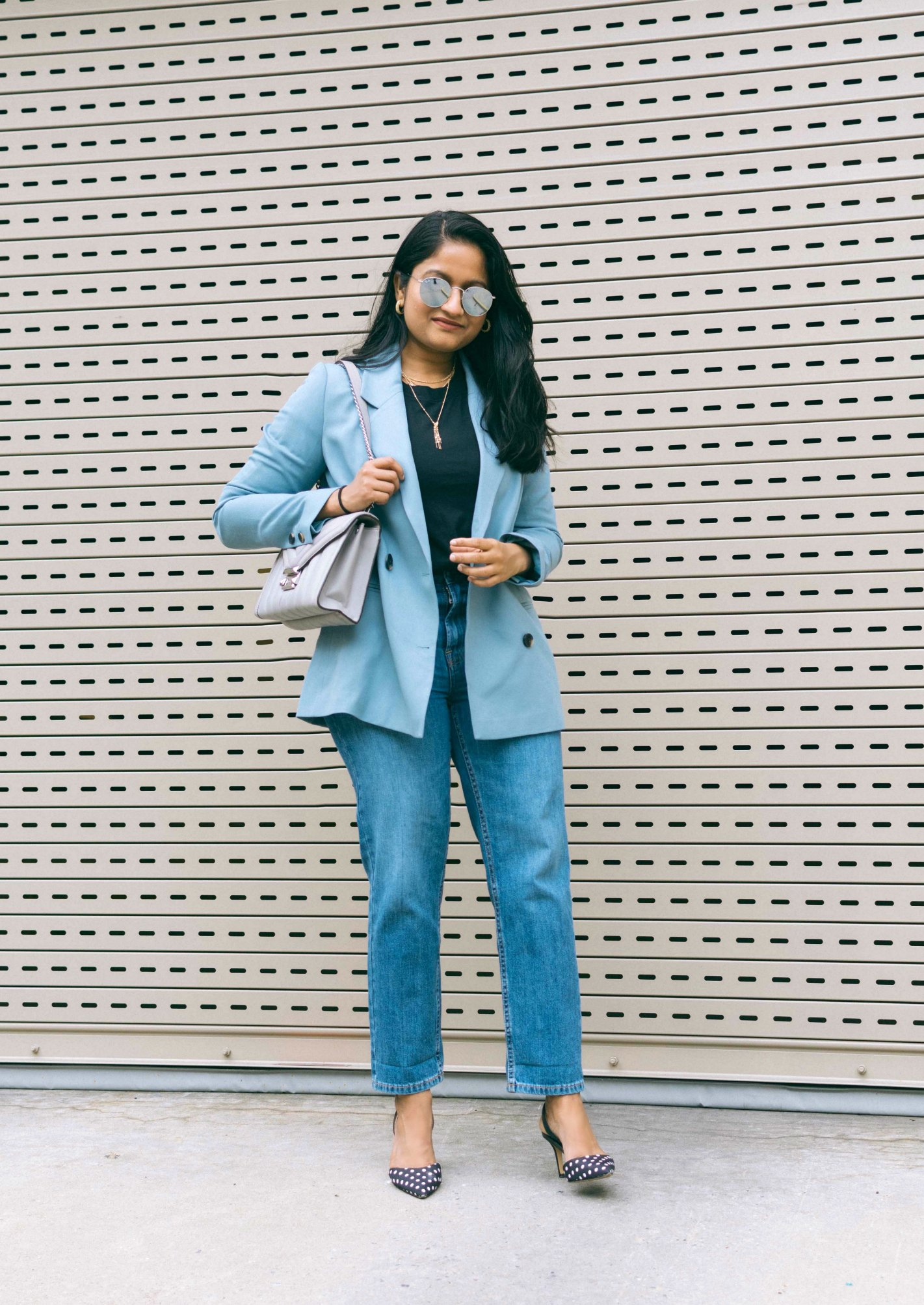wearing Everlane summer jeans, The Cotton Box-Cut Tee, MICHAEL Michael Kors Whitney Quilted Leather Shoulder Bag, Kerry Polka Dot pumps, baby blue blazer 2