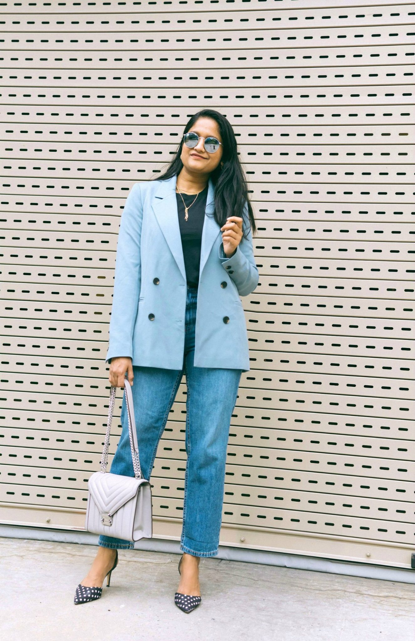 wearing Everlane summer jeans, The Cotton Box-Cut Tee, MICHAEL Michael Kors Whitney Quilted Leather Shoulder Bag, Kerry Polka Dot pumps, baby blue blazer