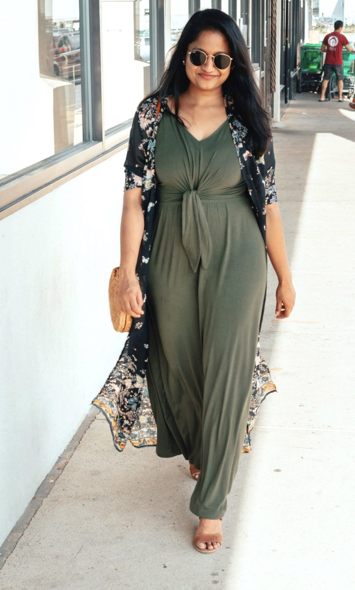 Summer Essentials for Women featured by top US modest fashion blog, Dreaming Loud: image of a woman wearing a JC Penney a.n.a Sleeveless Maxi Dress , Walmart Floral Kimono Long Tops Print Beach Swimwear Maxi Cardigan