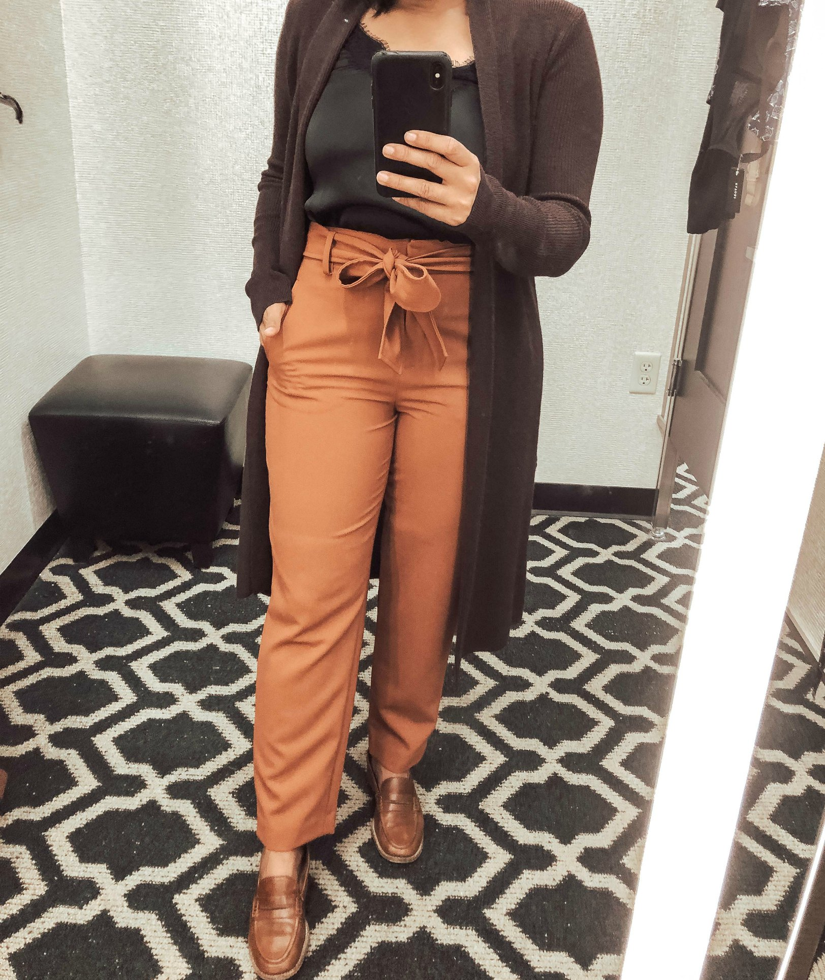 Top 10 Work Wardrobe Essentials from the 2019 Nordstrom Anniversary Sale featured by top US modest fashion blogger, Dreaming Loud: image of a woman wearing a Leith Longline Cardigan, halogen Tie Waist Twill Pants, Leith Square Neck Sleeveless Sweater 6