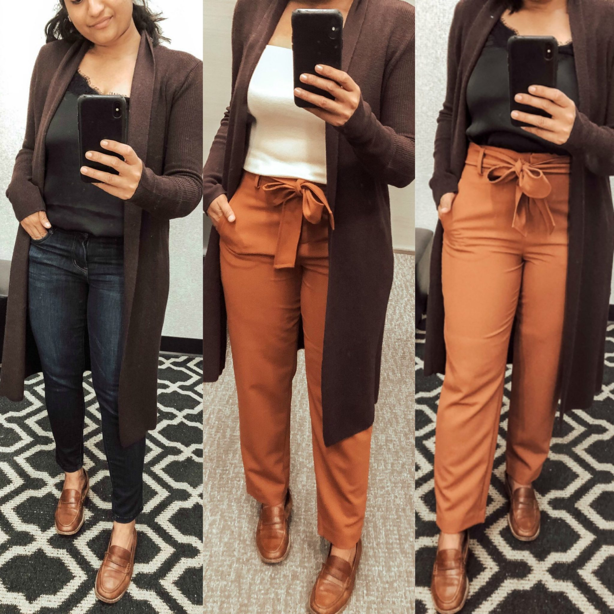 2019 Nordstrom Anniversary Sale Favorites by by top US modest fashion blogger, Dreaming Loud: image of a woman wearing Leith Longline Cardigan, halogen Tie Waist Twill Pants, Leith Square Neck Sleeveless Sweater.