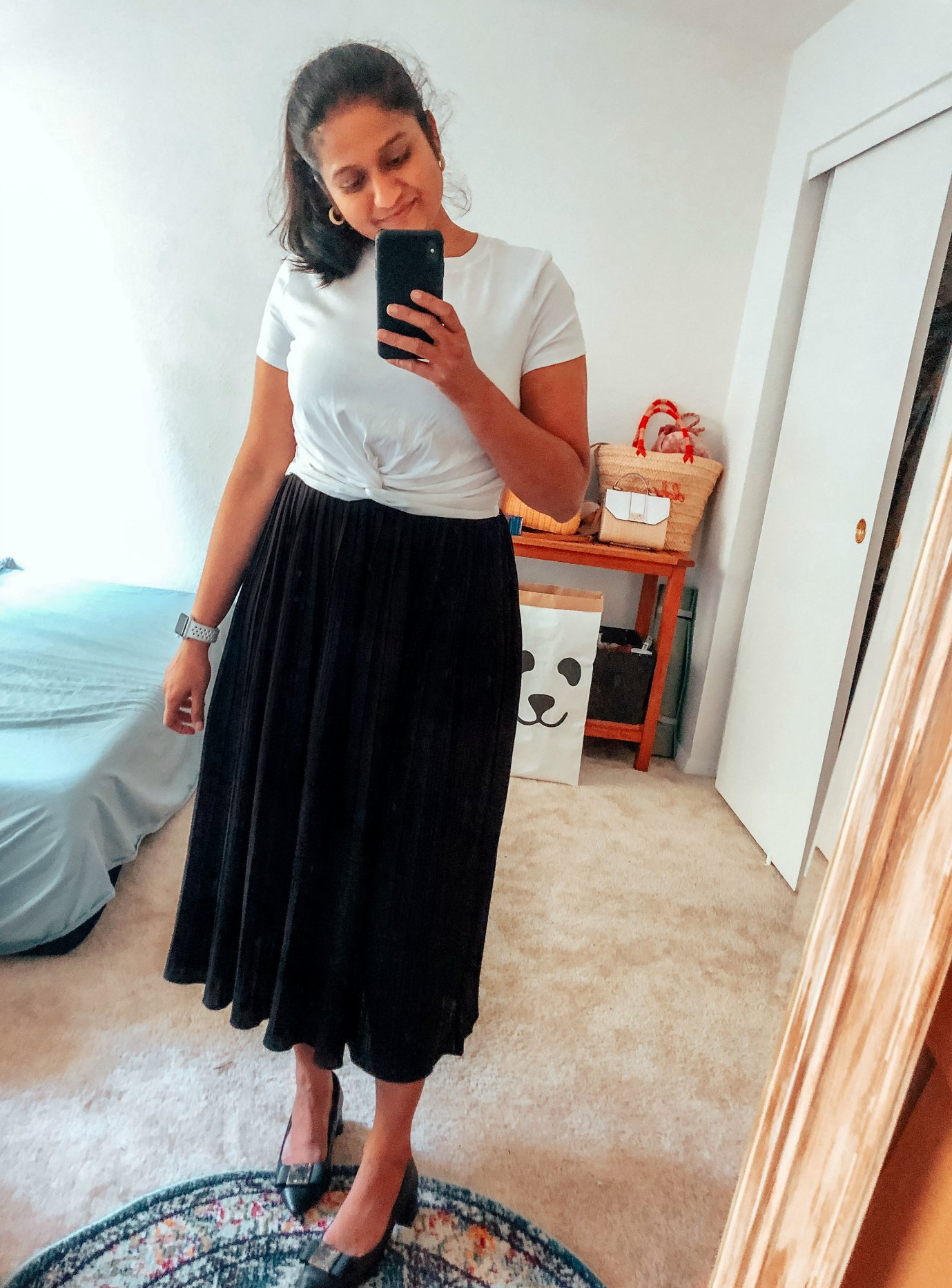 Summer Essentials for Women featured by top US modest fashion blog, Dreaming Loud: image of a woman wearing a MakeMeChic Women's Summer Crop Top Solid Short Sleeve Tie Front T-Shirt