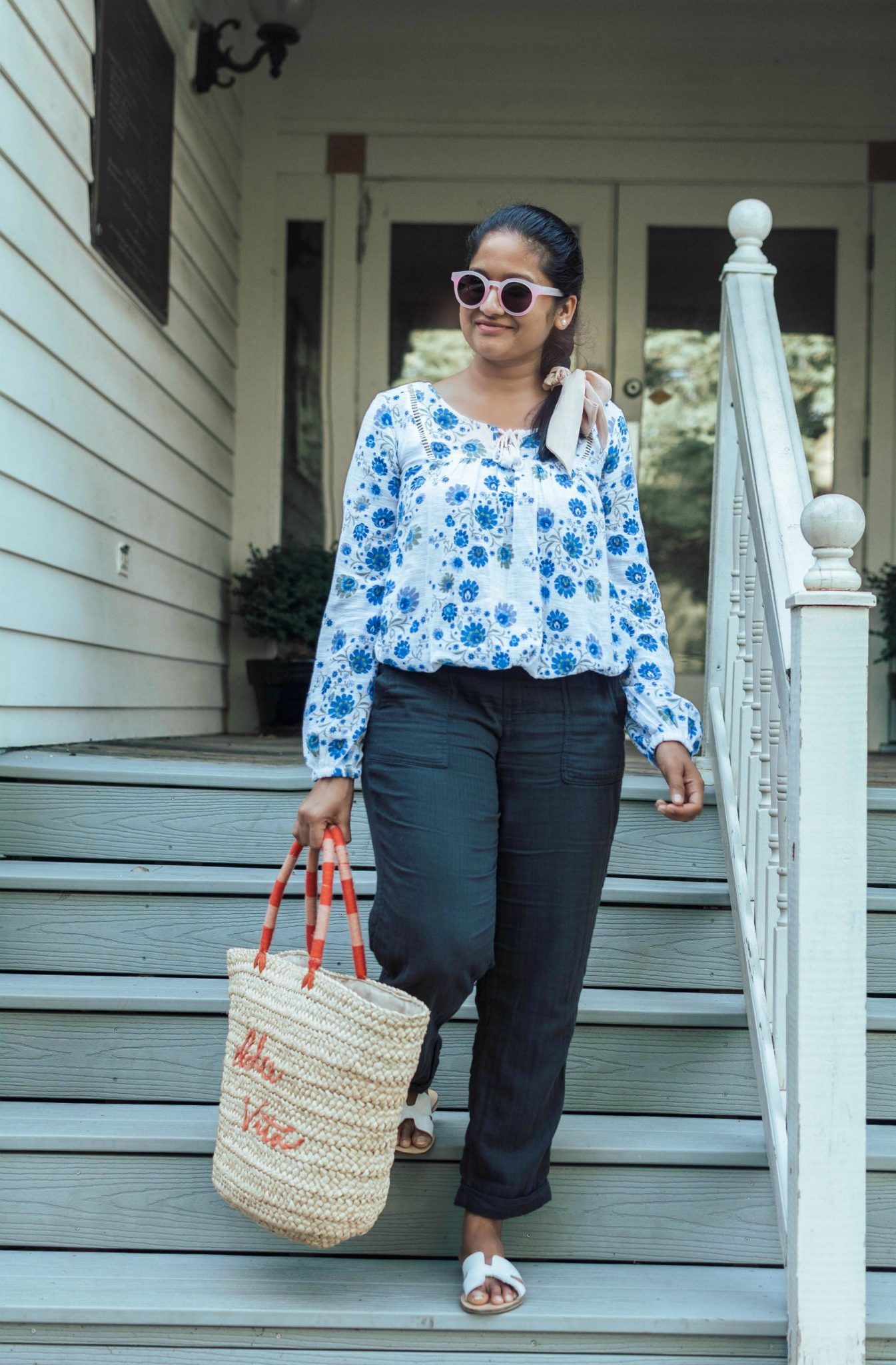 Summer Essentials for Women featured by top US modest fashion blog, Dreaming Loud: image of a woman wearing a Sofia Jeans By Sofia Vergara Boho Peasant Tassel Longsleeve Top, Old navy linen Mid-Rise Soft Twill Pull-On Utility Pants, Steven Greece Sandal, dolce vita straw tote 1