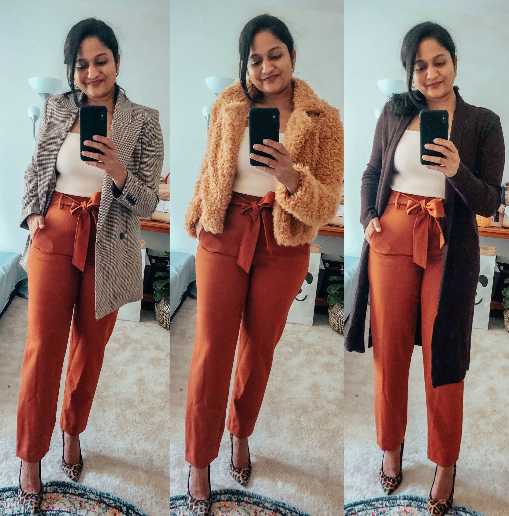 Top 10 Work Wardrobe Essentials from the 2019 Nordstrom Anniversary Sale featured by top US modest fashion blogger, Dreaming Loud: image of a woman wearing Halogen Tie Waist Twill Pants,Leith Square Neck Sleeveless Sweater,Chelsea 28 Double Breasted Plaid Blazer, BlankNYC faux fur coat 2