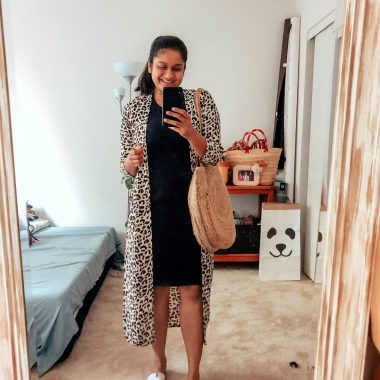 12 Basic Summer Essentials for your Closet Under $50 featured by top US modest fashion blog, Dreaming Loud: image of a woman wearing a leopard print kimono, crew factory t-shirt dress