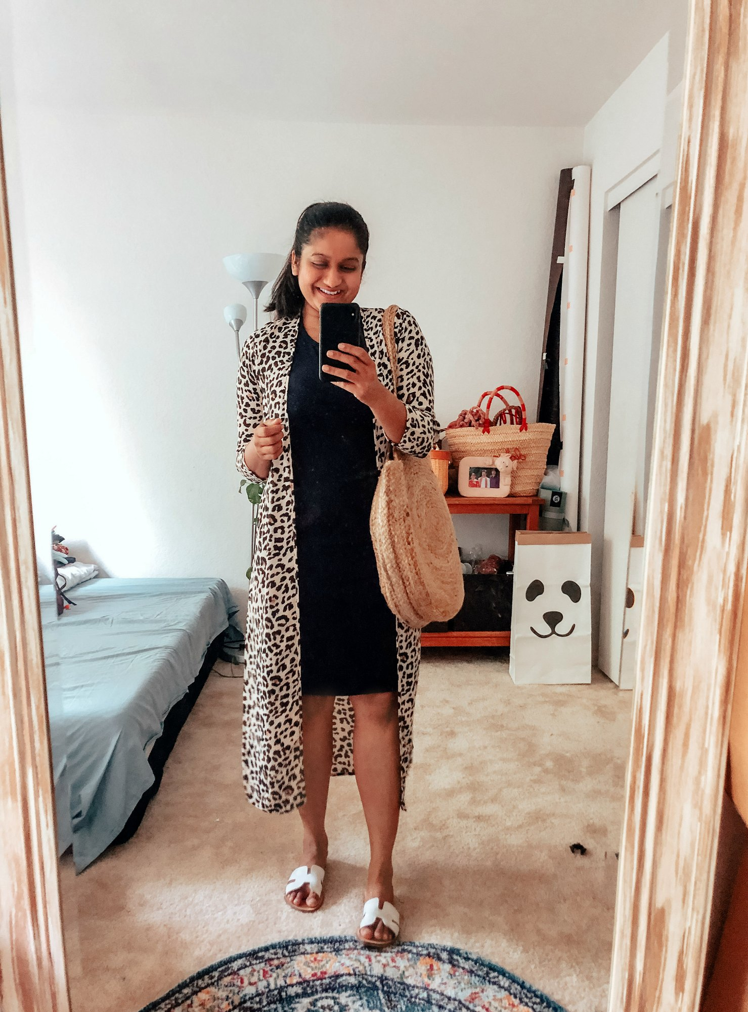 Summer Essentials for Women featured by top US modest fashion blog, Dreaming Loud: image of a woman wearing a leopard print kimono, crew factory t-shirt dress
