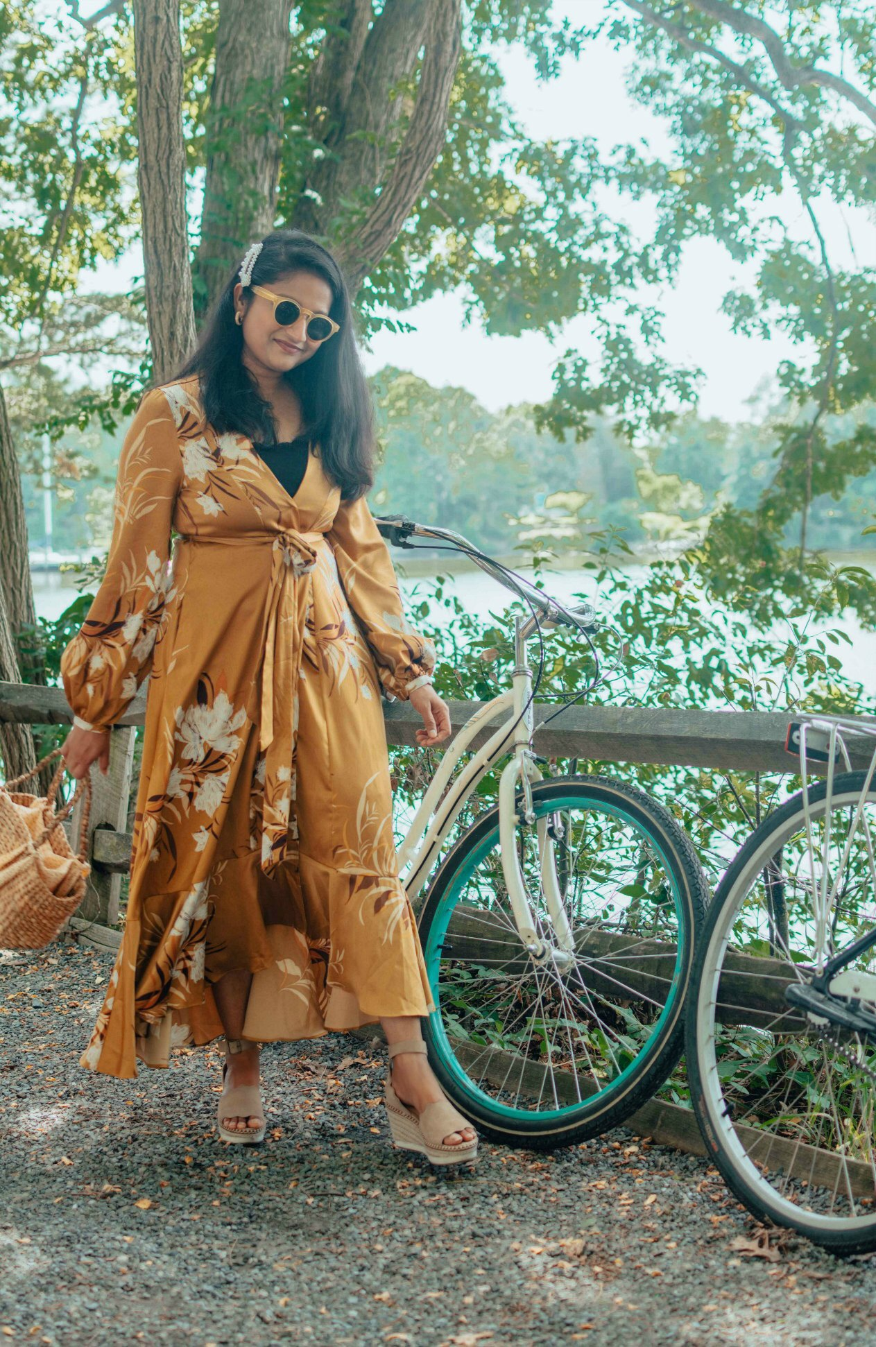 Express kimono dress styled for summer by top US modest fashion blog, Dreaming Loud: image of a woman wearing an Express floral kimono dress, Peekaboo Chic slip dress, Crow Vintage wedge espadrille sandals, BAUBLEBAR studded hoop earrings.