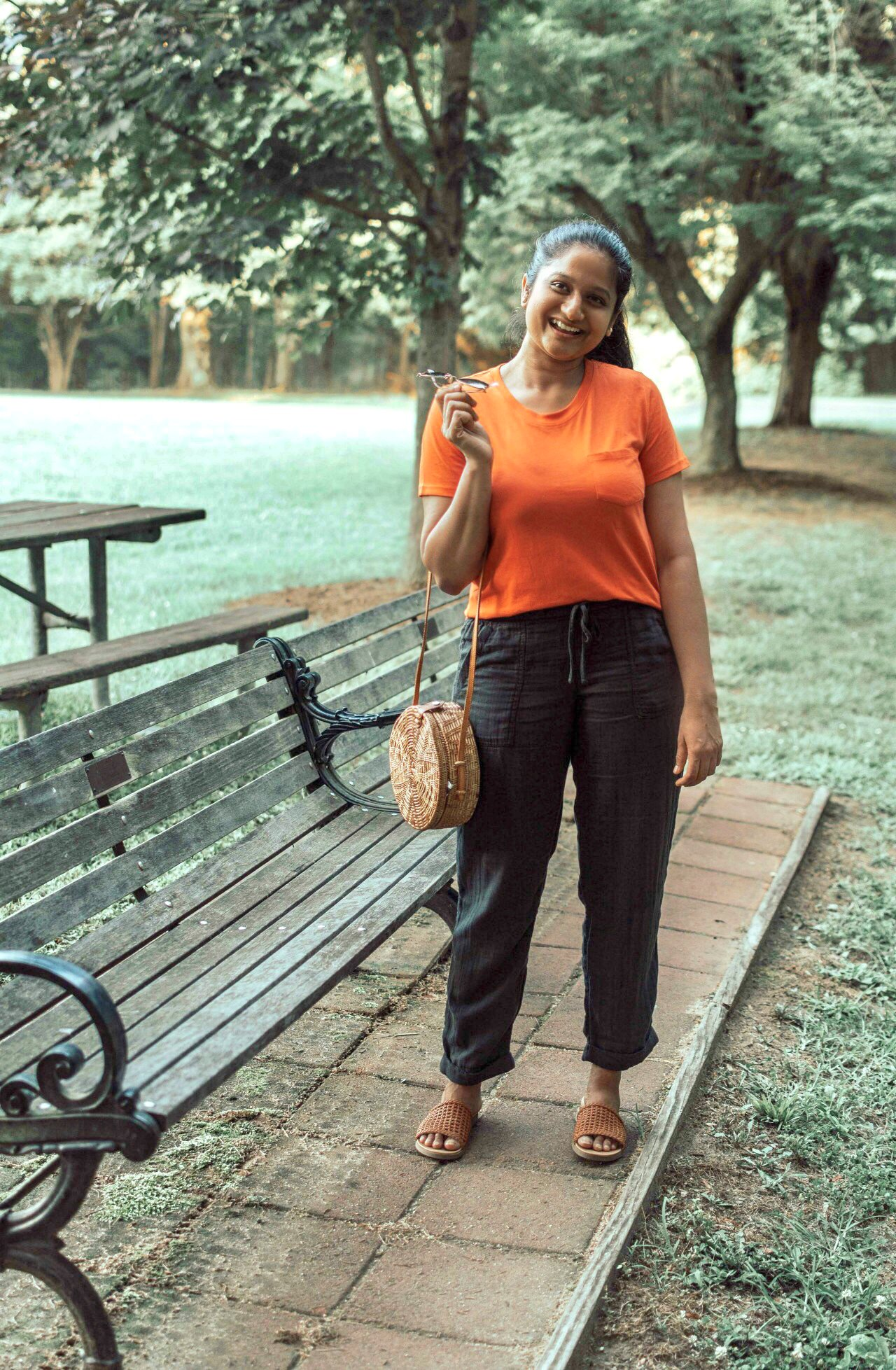 Summer Essentials for Women featured by top US modest fashion blog, Dreaming Loud: image of a woman wearing an Everlane striped The Cotton Box-Cut Tee , old navy linen Mid-Rise Soft Twill Pull-On Utility Pants, Steve Madden Kataryna Sandal