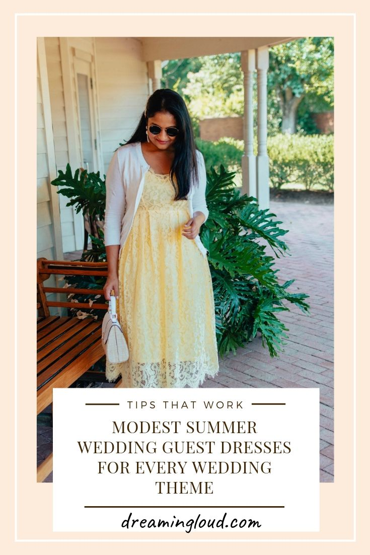 Modest Summer Wedding Guest Dresses for Every Wedding Theme featured by top US modest fashion blog, Dreaming Loud