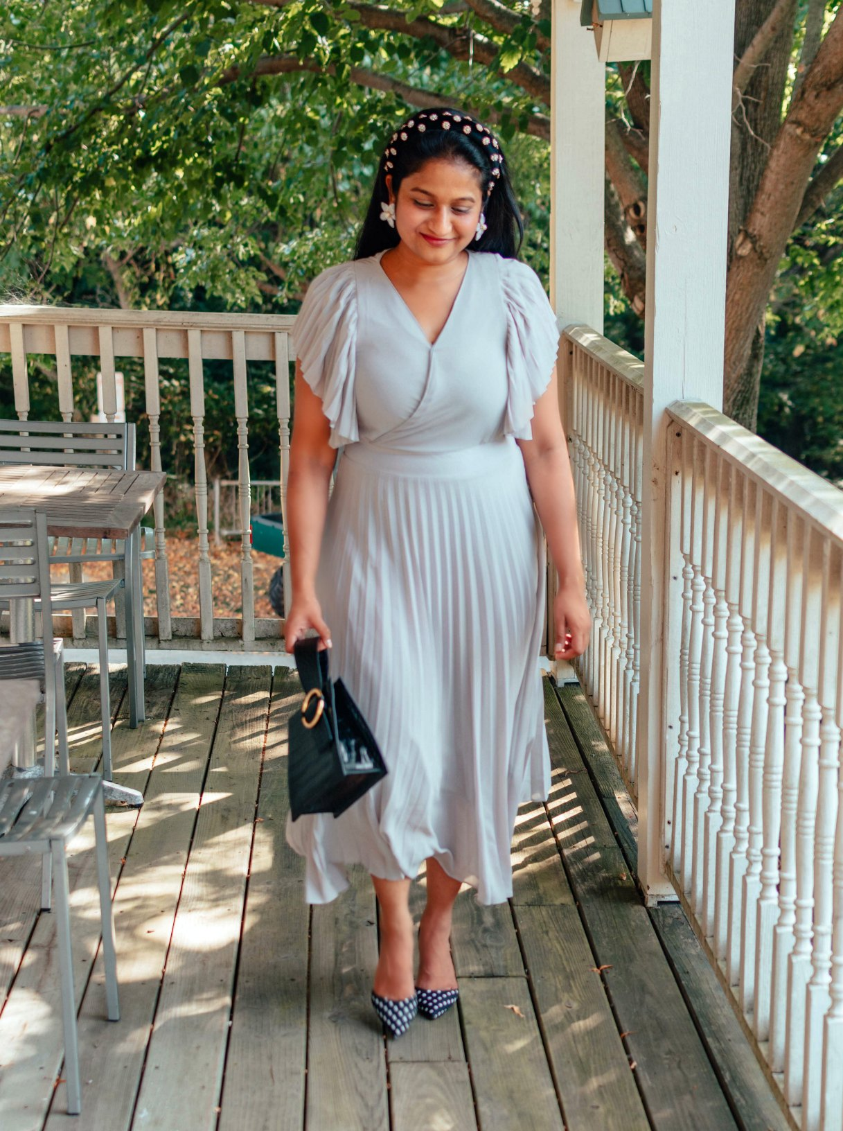 Wearing Ivy City co pleated dress in lilac, Parisa Wang Enchanted Top handle Bag, Pearl headband 7