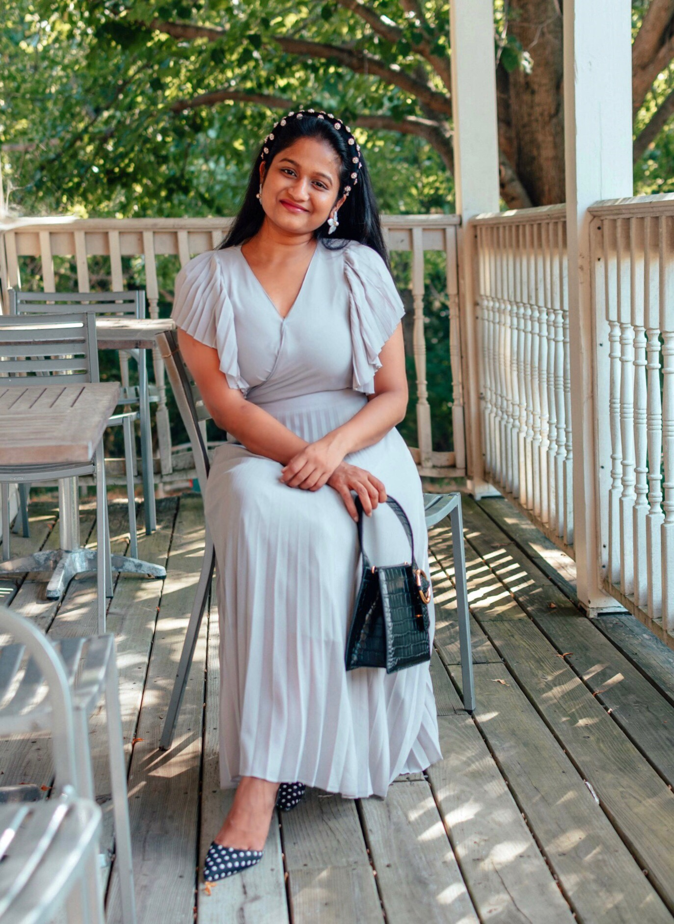 Wearing Ivy City co pleated dress in lilac, Parisa Wang Enchanted Top handle Bag, Pearl headband.6