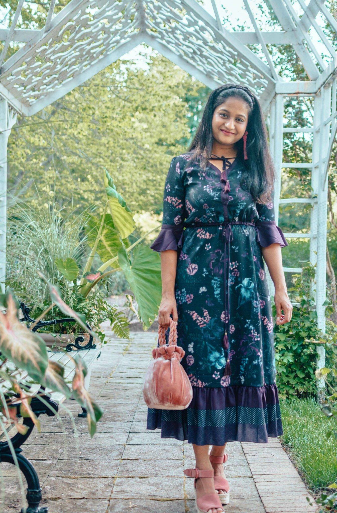 Modest Summer Wedding Guest Dresses featured by top US modest fashion blog, Dreaming Loud: image of a woman wearing Wynsum samara dress, Marc fisher Alida Espadrille Platform Wedges, Staud Grace Crushed-velvet Tote.