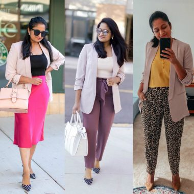 4 Ways to Wear a Light Pink Blazer to the Office featured by top US modest fashion blog, Dreaming Loud