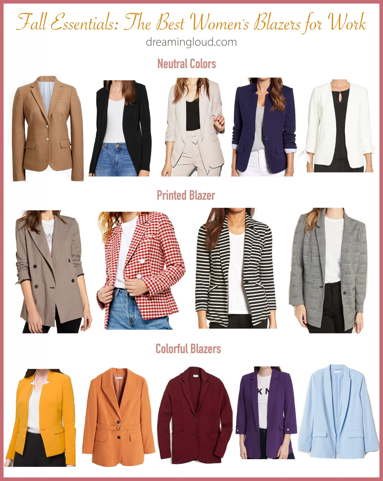 Fall Essentials- The Best Women's Blazers for Work | Fall Essentials: The Best Women's Blazers for Work featured by popular US fashion blog, Dreaming Loud: image of various women's blazers.