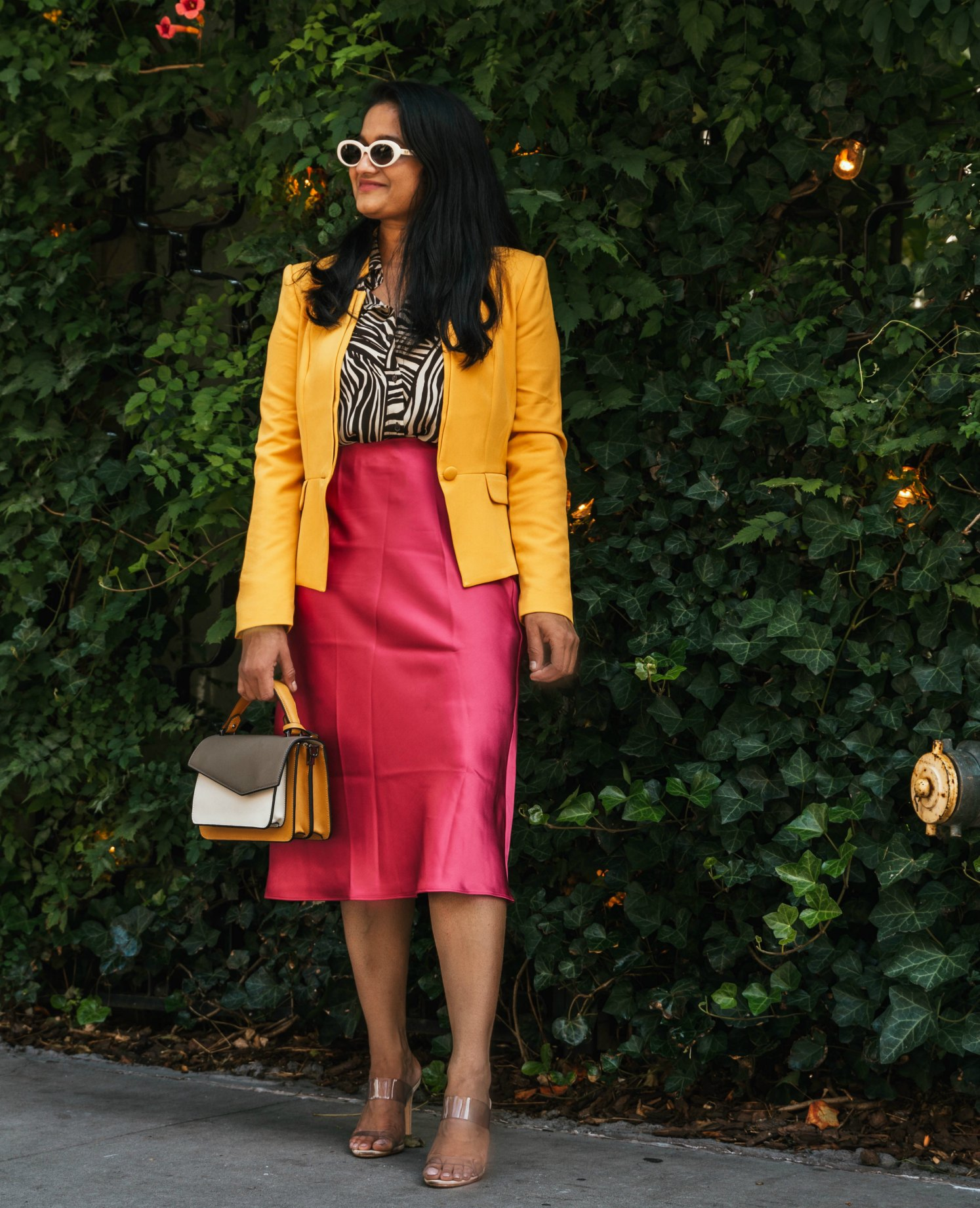 NYFW Recap all things mochi- wearing club monaco Trycia Satin Skirt, Botkier Cobble Hill Color-Block Crossbody, Schutz clear heels, WHBM yellow blazer
