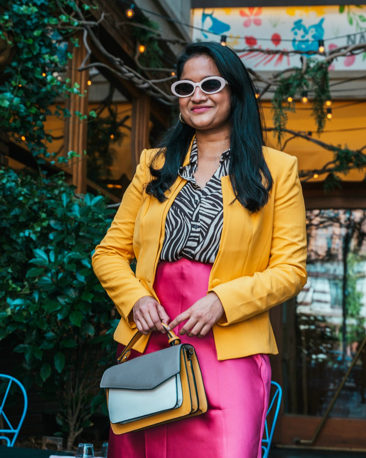 NYFW style SS20- Wearing club monaco Trycia Satin Skirt,WHMB yellow blazer, Botkier Cobble Hill Color-Block Crossbody,