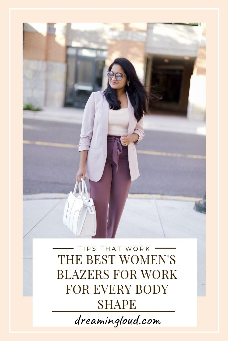 Fall Essentials: The Best Women's Blazers for Work featured by popular US fashion blog, Dreaming Loud: image of a woman walking outside and wearing FSJ Shoes Women's Black Polka Dots Kitten Heels Pointy Toe Slingback Pumps, Express High Waisted Paperbag Ankle Pant, Expresss Ruched Sleeve Boyfriend Blazer, Nordstrom Leith Square Neck Sleeveless Sweater, and Le Specs Half Moon Magic Sunglasses.