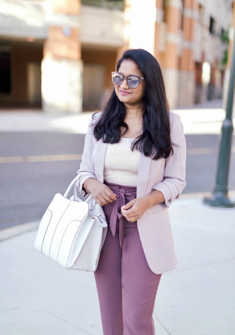 Fall Essentials: The Best Women's Blazers for Work featured by op US modest fashion blog, Dreaming Loud: image of a woman wearing Express high waisted sash tie ankle pant, Express ruched sleeve boyfriend blazer,Leith Square Neck Sleeveless Sweater, Tod's contrast trim tote - White,Le specs Half Moon Magic Sunglasses,Polka Dot Slingback Pumps